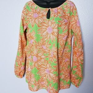 Lilly Pulitzer Floral 100% Cotton Thin Keyhole